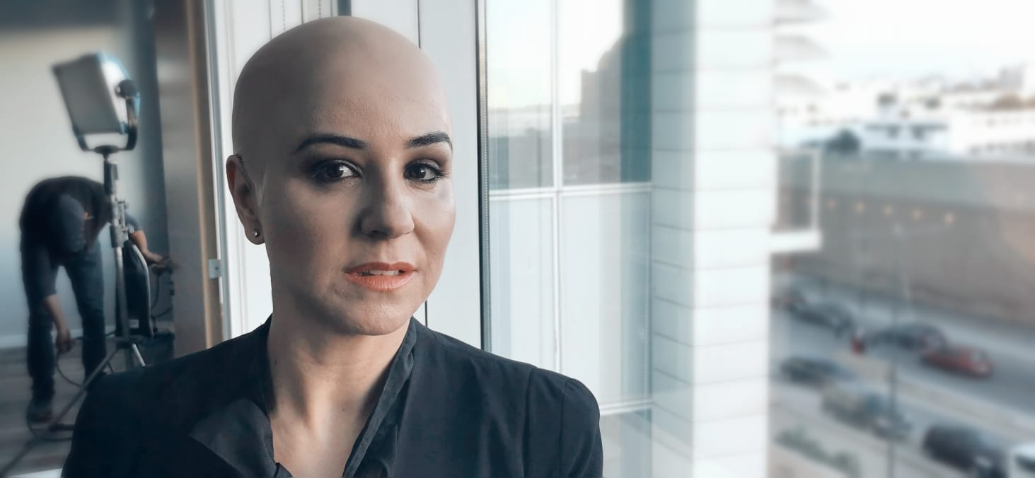 سامية كما ظهرت في المسلسل بدور ليلى التي أصابها السرطان